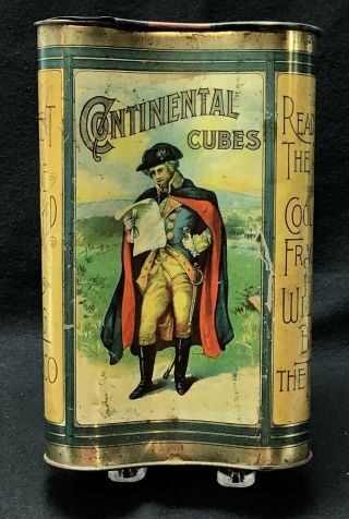 """Vintage Large Size 8 3/8"""" Tall Continental Cubes Concave Tobacco Tin"""
