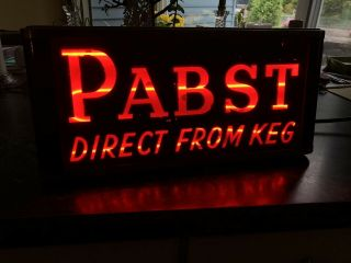 Vintage Pabst Direct From Keg Blue Ribbon Countertop Neon Sign Art Deco 1940's?