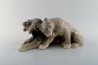 Knud Kyhn For B&g (bing & Grondahl).  Large Rare Porcelain Figure,  Lion Couple