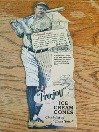 Rare 1920s Fro Joy Ice Cream Babe Ruth Store Display Sign Vintage Old Baseball
