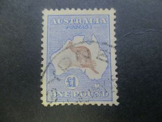Kangaroo Stamps: £1 Blue And Brown 1st Watermark Fine Rare (-)