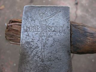 Vintage embossed extremely rare Lone Scouts axe hatchet. 4