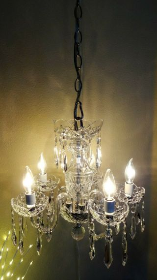 Rare Vintage Waterford Crystal Dunmore 5 Arm Chandelier Made In Ireland