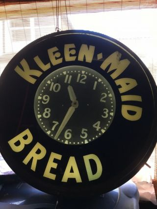 Vintage Neon Advertising Clock Kleen Maid Bread