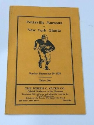 Very Rare 1928 Pottsville Maroons Vs York Giants Program