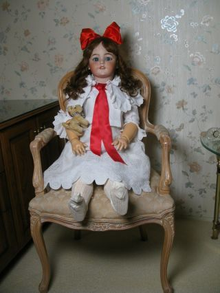 "37 "" Huge Antique Bisque Head German Doll S & H Santa 1249"