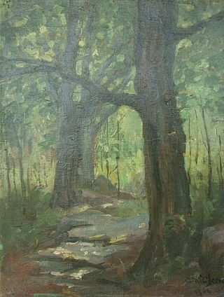 Rare Early California Landscape Oil Painting Clara Mcchesney 1850 - 1928 Ca Ny 06