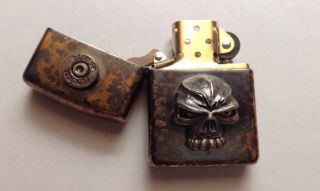 Collectible Rare Steel Flame/Emerson Zippo Lighter Skull.  45 Federal Shell 4