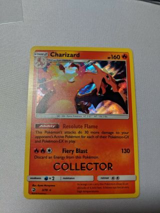 "Pokemon 2018/19 S&m Dragon Majesty Charizard "" Collector "" Stamped Promo Near"