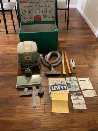 Rare Lewyt Electronic Model 111 Canister Vacuum Cleaner With All Tools Paperwork