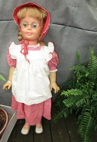 "Vtg 35 "" Large Blonde Ideal Doll Patti Playpal Red Check Gingham Dress 35 "" Beauty"