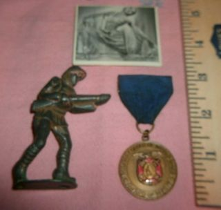 Military Medal,  And,  Vintage Ww1 Cast - Iron Toy Soldier,  Old Patina,  As - Is,