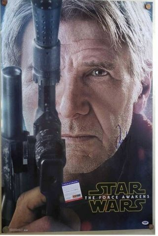 Psa Signed Harrison Ford Han Solo Star Wars 24x36 Poster Rare Autograph