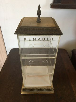 Renauld France Vintage Sunglass Display Case Brass Acrylic Retail Counter Prop