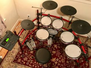 Roland V Session Electronic Drum Kit.  Rare Red.  Pre - Owned