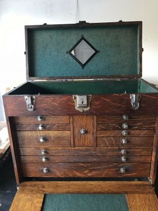Vintage Antique H Gerstner & Sons Machinist Tool Box Chest 11 Drawers