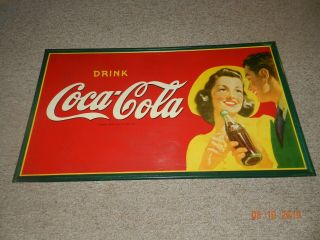 """Huge Vintage & Rare 1920,  S Coca Cola Lady Drinking Sign 56 """" X 32 """" Vg Cond."""
