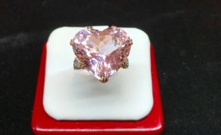 Art Deco Vintage 35.  25 Ctw Heart Shaped Kunzite Diamond Platinum & 14k Gold Ring