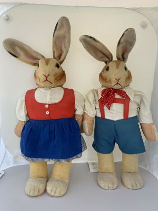 1900's Rare Vintage Steiff Girl And Boy Dressed Stuffed Animal Rabbits