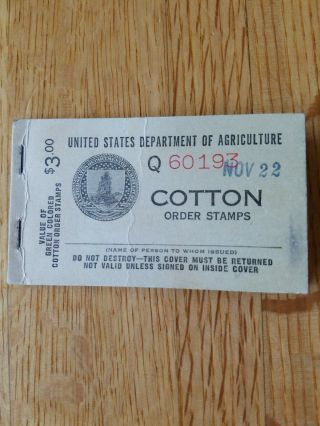 1939 - 40 U.  S.  Cotton Order Stamp Booklet With 13 25 Cent Stamps,  Rare