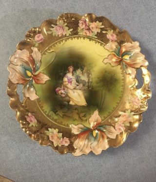 Rs Prussia Cake Plate Portrait Iris Mold (rare)