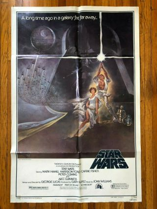 Vintage 1977 Star Wars One Sheet Style A Movie Poster 77/21 Hope Iv