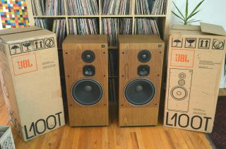 "Vintage Pair Jbl L100t L100 Titanium 12 "" Floor Speakers In Boxes"