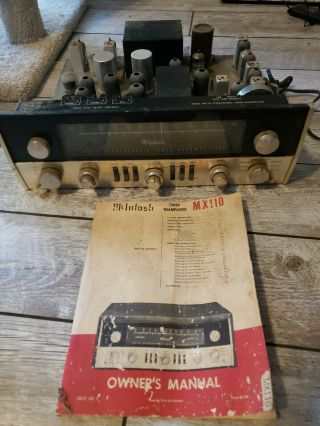 Vintage Mcintosh Mx 110 Tuner Preamplifier Tube Stereo Preamp