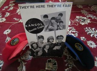 Beatles Rare Vintage 1964 Uk Beatles Caps With Ultra Rare Promo Display 2 Caps
