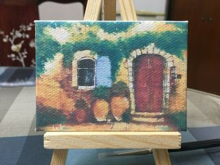 Aceo Hand Painting Oil Painting On Canvas - House By Chi Lok