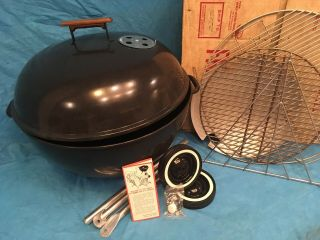 """Rare Vintage Weber Charcoal Grill 1968 """" The Texan """" Nos - Never Assembled"""