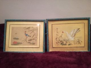 Pair Chinese Watercolours Birds Painted On Silk With Scripts And Red Seal Mark