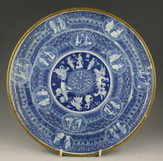 """Antique Pottery Pearlware Blue Transfer Greek 12 """" Cheese Stand 1815 Not Spode"""