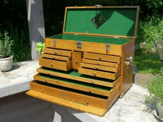 Vintage H.  Gerstner Oak Machinist Chest Model O52 - Circa 1970