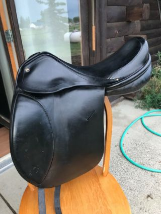 """A.  J.  Foster Lauriche Dressage Saddle Rare Wool Flocked Panels 18"""" Mw"""