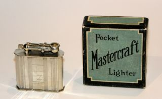 Rare Unusual 1927 Msr Mastercraft Sideways Liftarm Petrol Lighter W Box