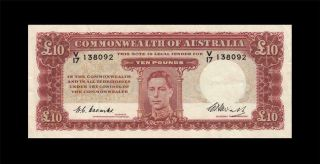 "1949 Australia Kgvi 10 Pounds "" Cba "" Note Coombs & Watt X - Rare ( (ef))"