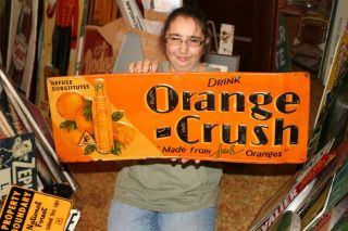 "Vintage 1932 Orange Crush Crushy Soda Pop Gas Station 28 "" Embossed Metal Sign"