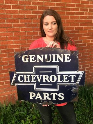 Vintage 1930s Chevrolet Parts Double Sided Porcelain Sign