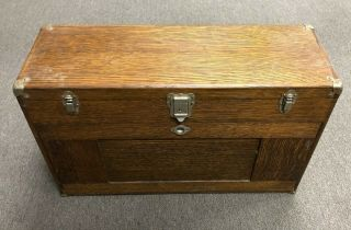 Vintage H Gerstner & Sons Model 052 Wood Machinist Tool Box / Chest / 11 Drawers