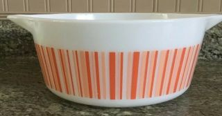 Rare Htf Vintage Pyrex Barcode 475 B Casserole Orange Peach Stripes 2 1/2 Qt