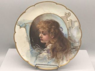 Franz Bischoff Portrait Plate Of Young Lady W Ribbon In Hair Rare Exc