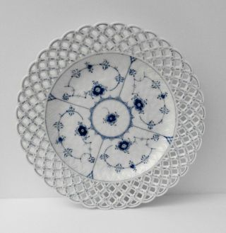 Vintage 1st Quality Royal Copenhagen Blue Fluted Full Lace Pierced Cake Plate