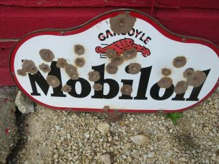 Vintage Mobil Oil Gargoyle Porceline Sign In Frame No Stand 20 X 36 ""