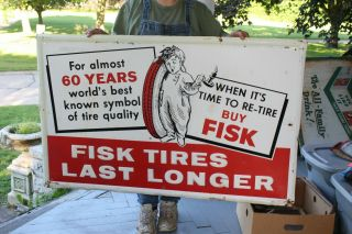 "Large Vintage 1962 Fisk Tires Gas Station 48 "" Embossed Metal Sign"