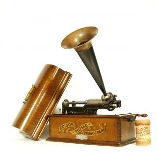 1902 Edison Home Phonograph W/original Horn & Rare Dealer