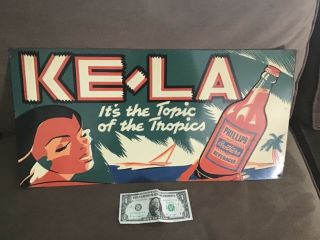 Rare Baltimore 1940s Ke La Beverage Embossed Tin Sign Phillips Bros.