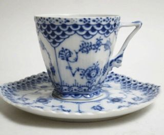 6 Rare Royal Copenhagen Blue Fluted Full Lace Gargoyle Cups & Saucers 1036
