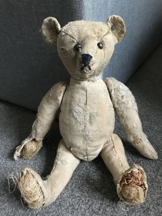 """13"""" Early Antique Steiff Teddy Bear Shoe Button Eyes W/ Old Ff Button Tattered"""