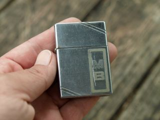 Vintage Zippo Lighter 1936 - 1940 Square Slash Corners 9 Barrel Usa Embossed Mb